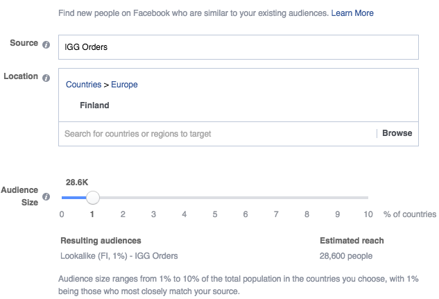 A screenshot of defining Facebook custom audiences