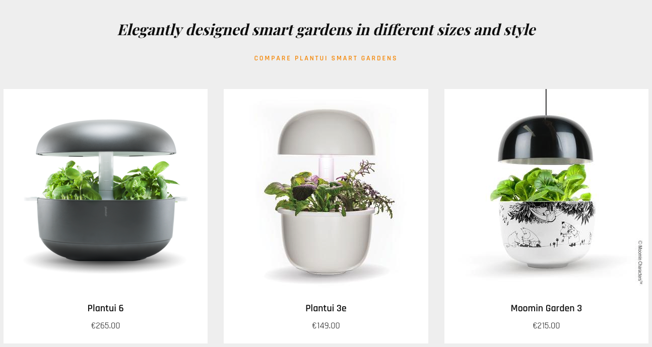Products on display on Plantui's ecommerce site