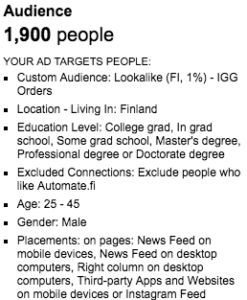 An example of Facebook audience profile