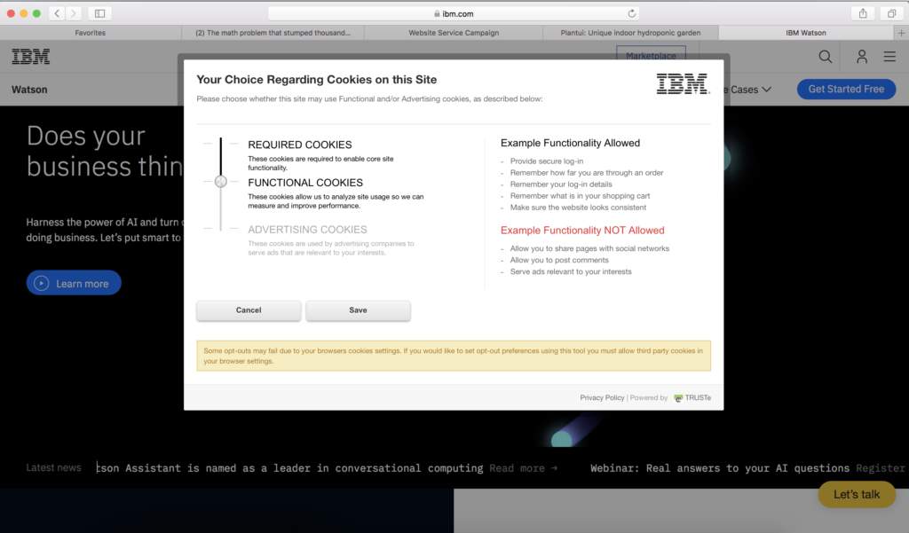 Example cookie consent for GDPR_IBM:The F Company